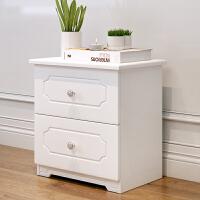 甜梦莱欧式经济型田园实木床头柜白色小户型韩式风格收纳柜实木储物柜 组装