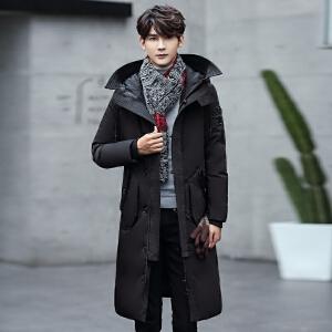 秋冬羽绒服男 时尚休闲纯色保暖羽绒上衣 秋冬青年长款羽绒服外套