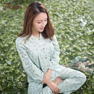 顶瓜瓜睡衣女纯棉春季新款 长袖翻领蕾丝甜美可爱韩版家居服女套装