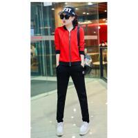 新款女装外套开衫卫衣棒球服休闲运动套装女三件套韩版
