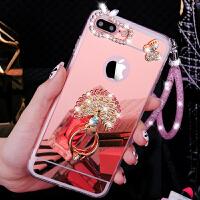 苹果7plus手机壳镜面8puls套女款带挂绳立体镶钻指环扣支架创意