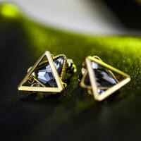 潮流时尚典雅三角水晶耳钉女简约耳钉耳饰 韩国时尚几何三角形不规则水晶耳环女