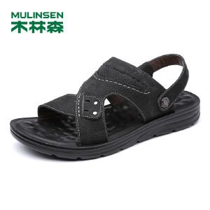木林森男鞋 夏季男士凉拖牛皮套脚沙滩鞋透气男凉鞋厚底鞋子05277722