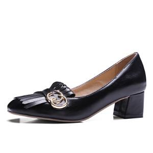 O'SHELL欧希尔春季上新009-C9-2韩版粗跟高跟女士单鞋