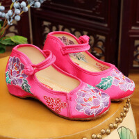 童鞋儿童老北京布鞋女童绣花鞋民族风汉服鞋子平底表演出舞蹈鞋子 梅