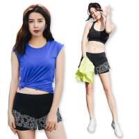 瑜伽服套装三件套女士健身跑步运动服吸汗速干T恤短裤文胸
