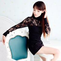 2017春夏装新款韩国蕾丝丝绵修身长袖打底衫黑色蕾丝上衣立领 均码