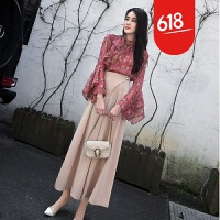 春装2018新款女韩版雪纺上衣港风阔腿裤两件套时髦俏皮套装女夏季GH17 图片色