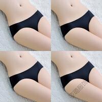 4条装 一片式冰丝无痕内裤女低腰三角裤头大中小码夏季内裤女