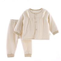开薄棉衣婴儿3-12个月男女宝宝外出服两件套装