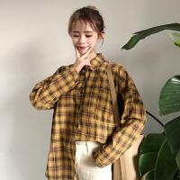 春季上衣2019新款韩版复古POLO领长袖洋气衬衣宽松格子衬衫女学生