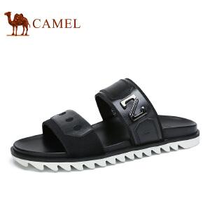 camel骆驼男鞋 夏季新品 牛皮简约时尚休闲一字拖清凉拖鞋男