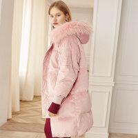 反季羽绒服女中长款 2018新款粉色宽松金丝绒大毛领加厚冬季外套