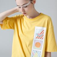 初语夏季新品水果印花圆领中袖T恤女五分袖纯棉宽松大码女装上衣