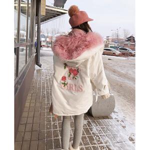 谜秀东大门羽绒服女中长款2017冬装新款韩国宽松刺绣原宿加厚外套
