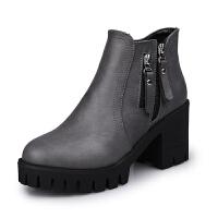 秋冬新款高跟女短靴粗跟圆头高跟鞋韩版潮短筒水台马丁靴女靴子 灰色 单款