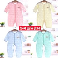 夏季纯棉闭裆开裆连体衣短袖长袖婴儿0-1岁超薄爬衣哈衣宝宝空调服家居服