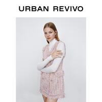 UR2020冬季新品女�b��雅法式�p排扣V�I�o袖�B衣裙WG38S7BN2012