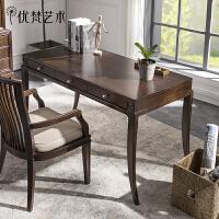 优梵艺术 Carpa美式八字脚书桌椅组合写字台家用桌办公桌书房家具