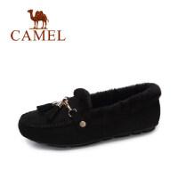 camel 骆驼女鞋 2017冬季新款 甜美舒适平底单鞋 流苏保暖毛毛鞋