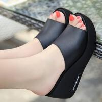 坡跟凉拖鞋女夏季外穿厚底水台高跟鱼嘴凉鞋女学生韩版一字拖鞋