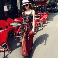 波西米亚长裙沙滩裙仙泰国海边度假吊带民族风连衣裙女夏
