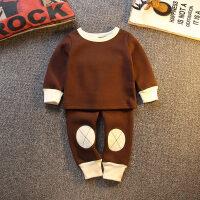 秋冬季一体绒睡衣儿童男孩小孩小童宝宝长袖家居服