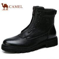 camel 骆驼男鞋秋冬新品加绒保暖真牛皮美式潮流马丁靴子男