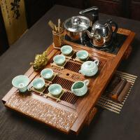 鸡翅木花梨木茶盘实木功夫紫砂陶瓷茶杯茶具套装家用茶台茶道 30件