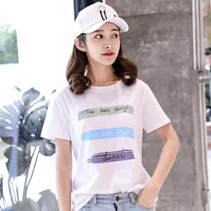 夏新款韩版圆领宽松打底上衣短袖T恤女潮