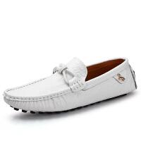 夏季新款真皮豆豆鞋男鳄鱼纹时尚休闲皮鞋潮鞋一脚蹬懒人鞋