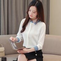 加绒衬衫女长袖保暖2019秋冬季韩版加厚工作服职业装白色衬衣 白色 (常规) L 建议105-115斤