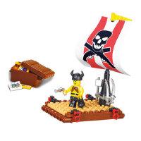 小鲁班积木模型拼装拼插儿童益智塑料玩具加勒比海盗勇士号
