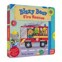 Bizzy Bear 小熊好忙 英文原版图书绘本 Fire Rescue 消防行动 幼儿互动操作机关书 儿童英文原版进