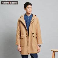 美特斯邦威风衣男士秋冬装时尚宽松中长款棉服羊毛帅气学生外套