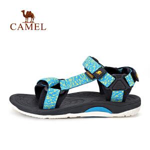 camel骆驼户外女款沙滩鞋 提花织带魔术贴防滑透气凉鞋女