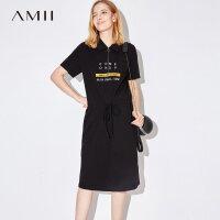 Amii2018夏装新款宽松翻领落肩绣花抽绳连衣裙