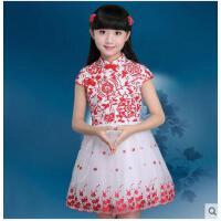 儿童旗袍女童唐装青花瓷公主裙子 大童民族风连衣裙儿童裙子装支持礼品卡支付