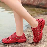 洞洞鞋女凉鞋平底孕妇鞋沙滩女鞋夏季防滑镂空大码女鞋41-43红色