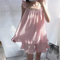 夏季可爱薄款吊带睡衣女夏性感纯棉短裤两件套夏天睡裙家居服套装