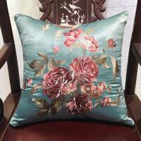 旗舰 新款中式绣花靠垫沙发靠背 古典中国风办公室腰靠床上抱枕套/含芯