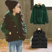 韩国童装2017新款韩版女童冬装套装中大童加绒加厚卫衣马甲两件套 绿色-标准尺码