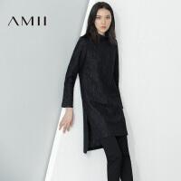 AMII[极简主义]冬半高领直筒开衩羊毛混纺毛呢连衣裙11694070