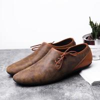 夏季时尚杰拉格休闲皮鞋男夏季透气反绒男士商务皮鞋英伦懒人一脚蹬驾车鞋