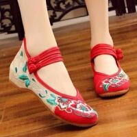 安娜老北京布鞋绣花鞋民族风内增高广场舞舞蹈鞋古装鞋子女汉服鞋