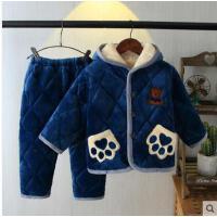 秋冬季男童法兰绒加厚男孩套装三层夹棉带帽家居服儿童珊瑚绒睡衣