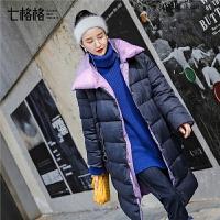 七格格纯色2018新款冬装女学院风直筒棉袄韩版单排扣时尚棉衣