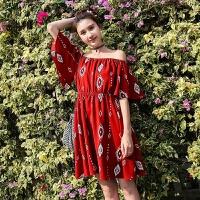 2018夏波西米亚连衣裙泰国海边度假沙滩裙一字肩短裙 图片色