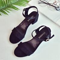 新款一字扣带露趾凉鞋女夏中跟韩版时尚女鞋潮罗马高跟女士鞋