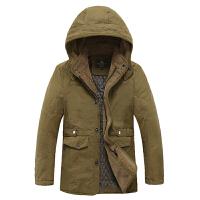 战地吉普AFS JEEP保暖棉衣 男装中长款大码棉服外套 休闲男士冬装外衣